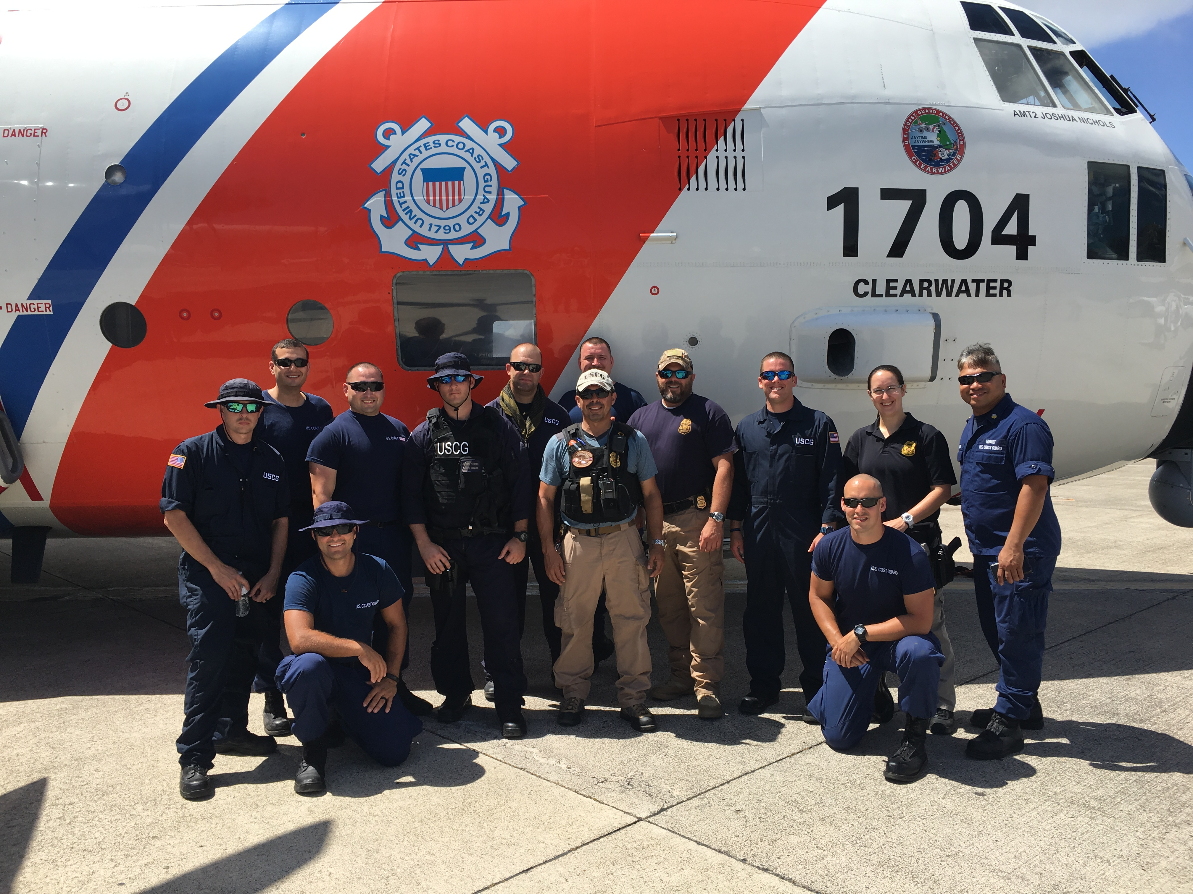 Sector Houston-Galveston LE team infront of CG C130