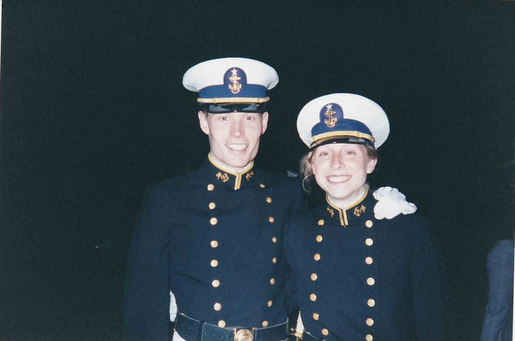 The Hiigels, pictured in their drill uniforms, during their senior year at the Coast Guard Academy